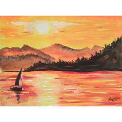 golden lake, 8 x 6 inch, priyanshu sharma,8x6inch,thick paper,paintings,landscape paintings,art deco paintings,paintings for dining room,paintings for living room,paintings for bedroom,paintings for office,paintings for hotel,paintings for kitchen,paintings for school,paintings for hospital,watercolor,GAL0973625467