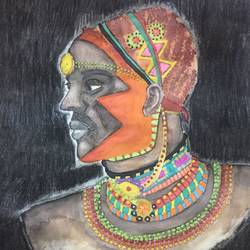 tribal warrior, 9 x 11 inch, surbhi razdan,9x11inch,paper,paintings,paintings for dining room,paintings for living room,paintings for hotel,charcoal,watercolor,GAL01424025468