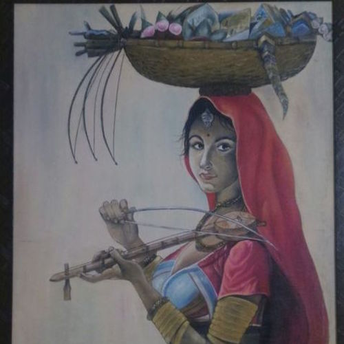beautiful banjara girls, 32 x 44 inch, smita singhai,32x44inch,canvas,paintings,figurative paintings,paintings for dining room,fabric,oil color,GAL01475825472