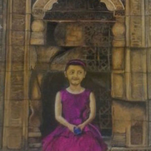 my cousin at historical place, 21 x 29 inch, smita singhai,21x29inch,drawing paper,paintings,portrait paintings,paintings for living room,paintings for bedroom,acrylic color,GAL01475825474