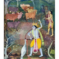 krishna killing bakasura, 12 x 20 inch, vishwanath khanvilkar,12x20inch,handmade paper,drawings,radha krishna drawings,paintings for dining room,paintings for living room,paintings for bedroom,paintings for office,paintings for bathroom,paintings for kitchen,watercolor,GAL01477525476