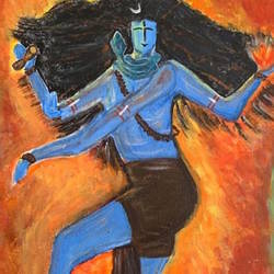 dancing shiva, 12 x 12 inch, gayathiri  guliani,12x12inch,canvas,lord shiva paintings,acrylic color,GAL01450225482