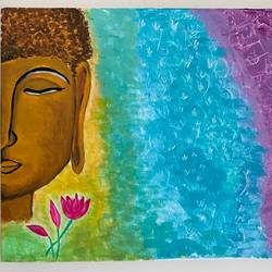 buddha zen, 12 x 14 inch, gayathiri  guliani,12x14inch,canvas,paintings,buddha paintings,paintings for living room,paintings for office,paintings for hotel,acrylic color,GAL01450225485