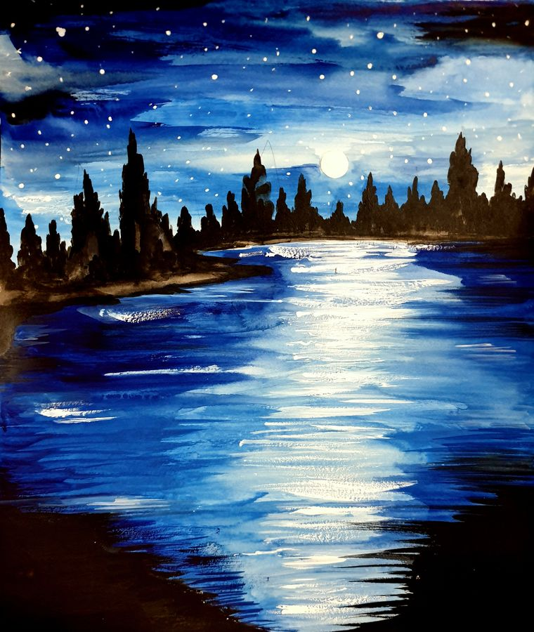 moon light view, 11 x 12 inch, seema agrawal,11x12inch,cartridge paper,paintings,landscape paintings,nature paintings,paintings for dining room,paintings for living room,paintings for bedroom,paintings for office,paintings for bathroom,paintings for kids room,paintings for hotel,paintings for kitchen,paintings for school,paintings for hospital,watercolor,GAL0185925486