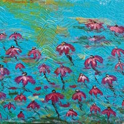 floating flowers in holy water, 8 x 10 inch, gayathiri  guliani,8x10inch,canvas,paintings,flower paintings,paintings for bedroom,paintings for bathroom,paintings for kitchen,acrylic color,GAL01450225488