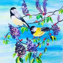 chirping birds amidst peaceful woodsn beautiful flowers, 20 x 24 inch, priyanka i lahoti,20x24inch,canvas,nature paintings,paintings for bedroom,paintings for bedroom,acrylic color,GAL01453925489