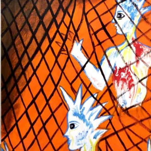 artist in a net of bonding, 18 x 30 inch, rita dash,18x30inch,canvas,paintings,expressionism paintings,paintings for living room,paintings for office,paintings for hotel,paintings for school,acrylic color,GAL01382125495