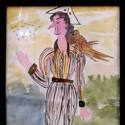a famous character of the novel treasure island, 13 x 18 inch, rita dash,13x18inch,rice paper,paintings,conceptual paintings,paintings for living room,paintings for office,paintings for hotel,watercolor,GAL01382125498