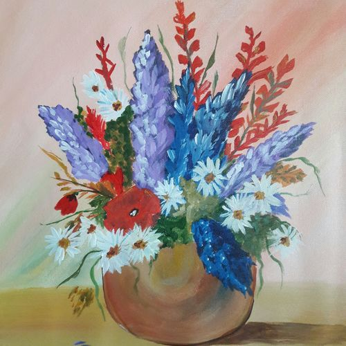 bunch of flower , 14 x 16 inch, indhuja raghavan,flower paintings,paintings for living room,canvas,acrylic color,14x16inch,GAL0110255