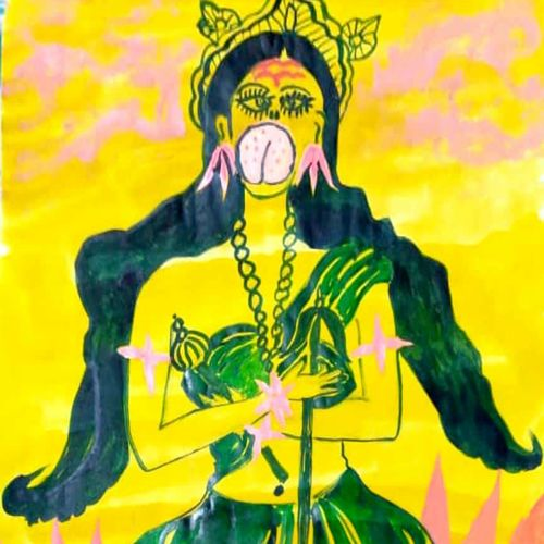 goddess, 12 x 18 inch, rita dash,12x18inch,rice paper,paintings,religious paintings,paintings for dining room,paintings for living room,paintings for bedroom,paintings for office,paintings for hotel,paintings for school,watercolor,GAL01382125500