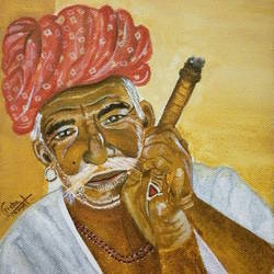 rajasthani man, 6 x 8 inch, neha  gangal,6x8inch,canvas,portrait paintings,paintings for dining room,paintings for living room,paintings for hotel,paintings for dining room,paintings for living room,paintings for hotel,acrylic color,GAL01408625510
