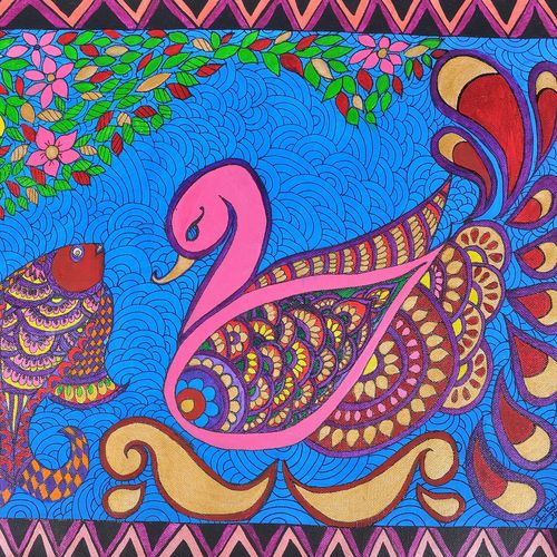 madhubani painting swan and fish, 16 x 20 inch, sheetal dsilva,16x20inch,canvas,paintings,madhubani paintings,paintings for living room,paintings for bedroom,paintings for living room,paintings for bedroom,acrylic color,GAL0402925516