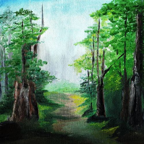 forest pathway , 8 x 10 inch, nivedita pk,8x10inch,canvas,paintings,nature paintings,paintings for dining room,paintings for living room,paintings for bedroom,paintings for office,paintings for bathroom,paintings for kids room,paintings for hotel,oil color,GAL01485225519