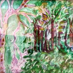 beautiful forest, 13 x 17 inch, rita dash,13x17inch,rice paper,paintings,nature paintings,paintings for living room,paintings for office,paintings for hotel,paintings for school,paintings for hospital,watercolor,GAL01382125522