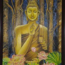 lord  buddha, 22 x 32 inch, smita singhai,22x32inch,cloth,paintings,buddha paintings,oil color,GAL01475825526