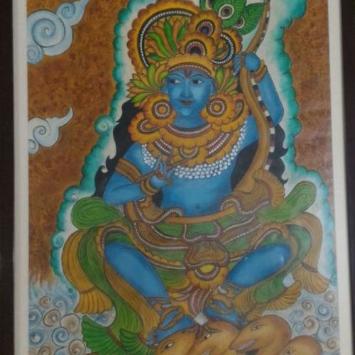 kerala lord krishna , 25 x 33 inch, smita singhai,25x33inch,fabriano sheet,paintings,kerala murals painting,paintings for dining room,paintings for hospital,oil color,GAL01475825527