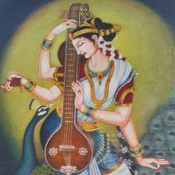 goddess saraswati, 30 x 36 inch, sk srivastava,30x36inch,canvas,paintings,religious paintings,oil color,GAL01382325529