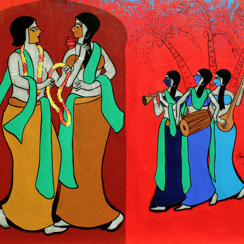 wedding ceremony , 35 x 22 inch, chetan katigar,35x22inch,canvas,abstract paintings,figurative paintings,modern art paintings,multi piece paintings,conceptual paintings,religious paintings,nature paintings,art deco paintings,expressionism paintings,impressionist paintings,contemporary paintings,love paintings,paintings for living room,paintings for bedroom,paintings for office,paintings for living room,paintings for bedroom,paintings for office,acrylic color,GAL026625533