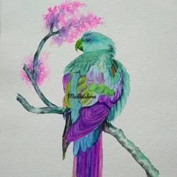 parrot, 10 x 14 inch, madhushree pawar,10x14inch,handmade paper,paintings,nature paintings,art deco paintings,animal paintings,paintings for living room,paintings for bedroom,paintings for office,paintings for hotel,paintings for school,paintings for hospital,watercolor,paper,GAL01458325534