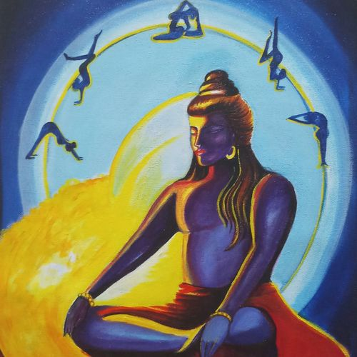 god shiv with grace, 16 x 20 inch, sandhya kumari,16x20inch,canvas,paintings,religious paintings,portrait paintings,lord shiva paintings,paintings for dining room,paintings for living room,paintings for office,paintings for hotel,paintings for kitchen,paintings for school,paintings for hospital,acrylic color,GAL0365925538