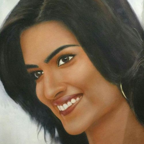 kriti- actress, 20 x 25 inch, abhishek singh,portrait paintings,paintings for living room,canvas,oil,20x25inch,GAL09252554