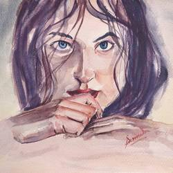 i see you, 12 x 8 inch, samudra sarma,12x8inch,brustro watercolor paper,paintings,figurative paintings,portrait paintings,portraiture,realism paintings,realistic paintings,paintings for dining room,paintings for living room,paintings for bedroom,watercolor,GAL01479425547