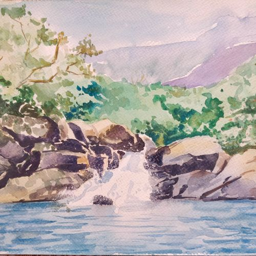 gushing waters, 12 x 8 inch, samudra sarma,12x8inch,brustro watercolor paper,paintings,landscape paintings,nature paintings,paintings for dining room,paintings for living room,paintings for bedroom,paintings for office,paintings for hotel,paintings for school,paintings for hospital,watercolor,GAL01479425548