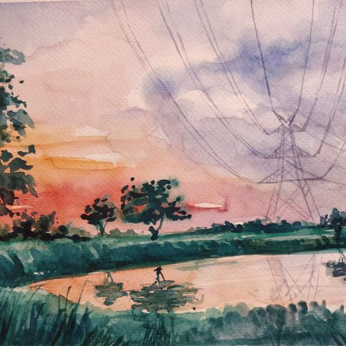 power lines, 12 x 8 inch, samudra sarma,12x8inch,brustro watercolor paper,paintings,landscape paintings,nature paintings,photorealism paintings,realistic paintings,paintings for dining room,paintings for living room,paintings for bedroom,paintings for office,paintings for hotel,paintings for kitchen,paintings for school,paintings for hospital,watercolor,GAL01479425549