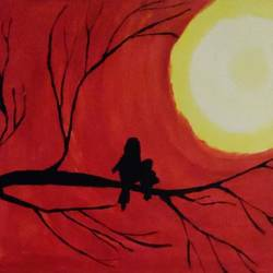 mama and baby bird at dusk, 12 x 16 inch, aarushi singhal,12x16inch,canvas,paintings,nature paintings,acrylic color,GAL01486025555