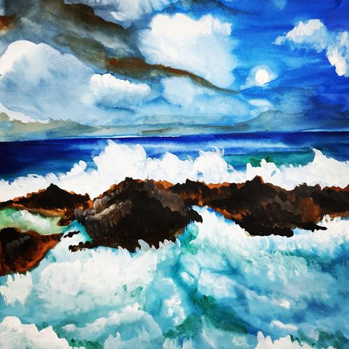 speaking waves, 11 x 12 inch, seema agrawal,11x12inch,cartridge paper,paintings,landscape paintings,nature paintings,paintings for dining room,paintings for living room,paintings for bedroom,paintings for office,paintings for bathroom,paintings for kids room,paintings for hotel,paintings for kitchen,paintings for school,paintings for hospital,watercolor,GAL0185925562