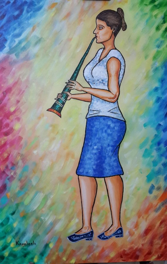 green clarinet, 24 x 36 inch, kamlesh  purohit ,24x36inch,canvas,paintings,figurative paintings,paintings for dining room,paintings for living room,paintings for bedroom,paintings for office,paintings for kids room,paintings for hotel,paintings for school,paintings for hospital,acrylic color,GAL01468725564