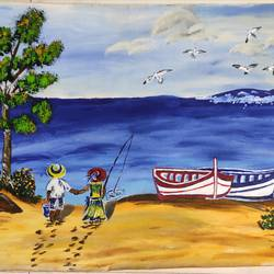 beach art, 20 x 30 inch, vimal drall,20x30inch,canvas,paintings,multi piece paintings,nature paintings,paintings for dining room,paintings for living room,paintings for bedroom,paintings for dining room,paintings for living room,paintings for bedroom,acrylic color,GAL01417725565