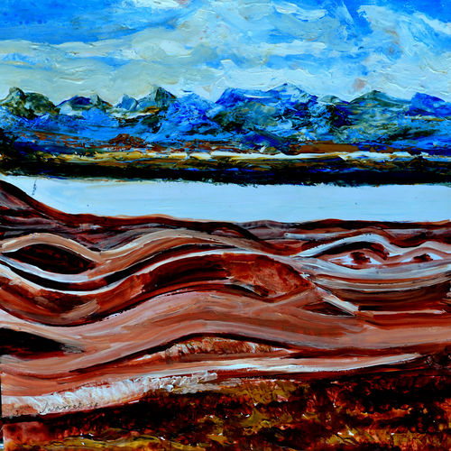 manasarovar lake--1, 20 x 16 inch, anand manchiraju,20x16inch,ivory sheet,paintings,landscape paintings,paintings for dining room,paintings for living room,paintings for bedroom,paintings for office,paintings for hotel,acrylic color,GAL01254025566
