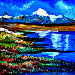 manasarovar lake--2, 20 x 16 inch, anand manchiraju,20x16inch,ivory sheet,paintings,landscape paintings,paintings for dining room,paintings for living room,paintings for office,paintings for hotel,acrylic color,GAL01254025567
