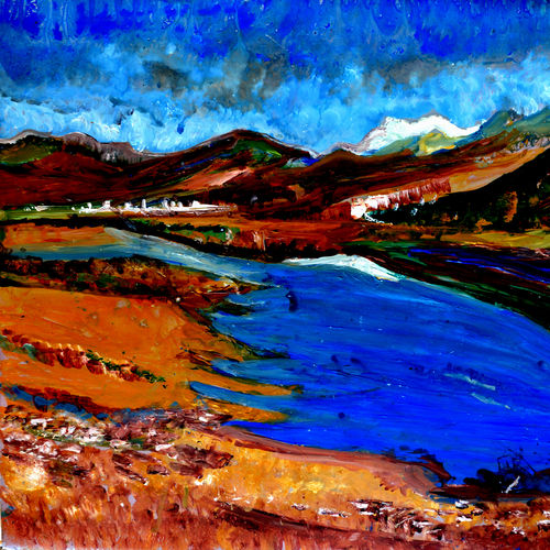 manasarovar lake--3, 20 x 16 inch, anand manchiraju,20x16inch,ivory sheet,paintings,landscape paintings,paintings for dining room,paintings for living room,paintings for bedroom,paintings for office,paintings for hotel,acrylic color,GAL01254025568
