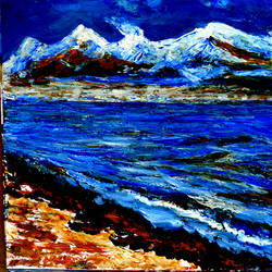 manasarovar lake--4, 20 x 16 inch, anand manchiraju,20x16inch,ivory sheet,paintings,landscape paintings,paintings for dining room,paintings for living room,paintings for office,paintings for hotel,paintings for dining room,paintings for living room,paintings for office,paintings for hotel,acrylic color,GAL01254025569