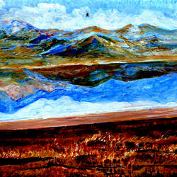 manasarovar lake--6, 20 x 16 inch, anand manchiraju,20x16inch,ivory sheet,paintings,landscape paintings,paintings for dining room,paintings for living room,paintings for office,paintings for hotel,acrylic color,GAL01254025571