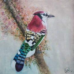 jay bird painting, 12 x 17 inch, aarti jadli,12x17inch,canson paper,wildlife paintings,paintings for living room,paintings for office,paintings for school,paintings for living room,paintings for office,paintings for school,watercolor,paper,GAL01247425576