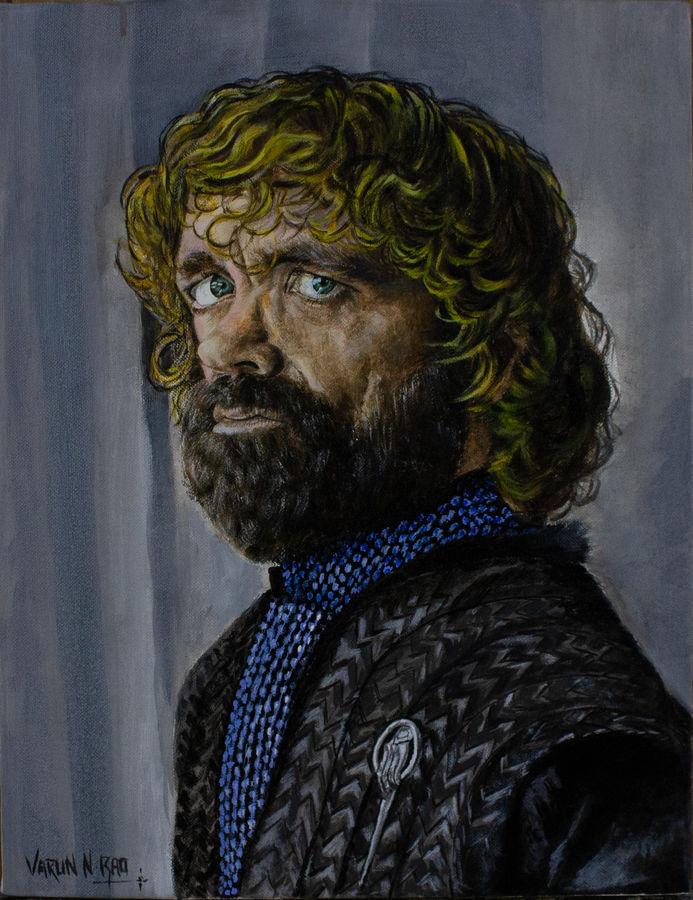 tyrion lannister from game of thrones - acrylic painting, 14 x 16 inch, varun  n rao,14x16inch,canvas,paintings,portrait paintings,paintings for dining room,paintings for living room,paintings for office,paintings for hotel,paintings for school,acrylic color,GAL0880925582