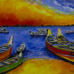 palette knife acrylic painting of bengare island, mangalore, 24 x 18 inch, varun  n rao,24x18inch,canvas,paintings,abstract paintings,landscape paintings,nature paintings,impressionist paintings,paintings for dining room,paintings for living room,paintings for bedroom,paintings for office,paintings for hotel,paintings for school,acrylic color,GAL0880925583
