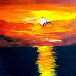 shades of sunset, 11 x 12 inch, seema agrawal,11x12inch,cartridge paper,paintings,landscape paintings,nature paintings,paintings for dining room,paintings for living room,paintings for bedroom,paintings for office,paintings for bathroom,paintings for kids room,paintings for hotel,paintings for kitchen,paintings for school,watercolor,GAL0185925584