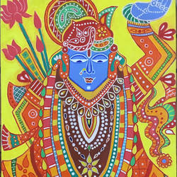lord shrinathji acrylic painting, 24 x 30 inch, varun  n rao,24x30inch,canvas,paintings,religious paintings,radha krishna paintings,paintings for dining room,paintings for living room,paintings for bedroom,paintings for office,paintings for hotel,acrylic color,GAL0880925585
