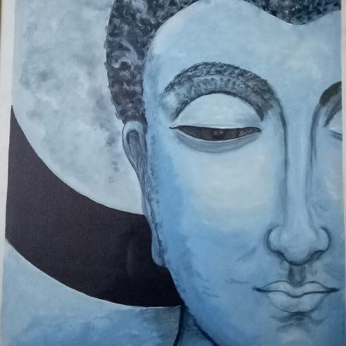 buddha, 30 x 40 inch, ashi  chaudhary ,buddha paintings,paintings for living room,canvas,fabric,30x40inch,religious,peace,meditation,meditating,gautam,goutam,buddha,blue,face,side face,smiling,peaceful,GAL08922559