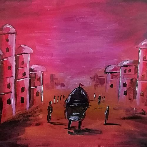 old city , 16 x 12 inch, shyam sundar sahoo,16x12inch,thick paper,paintings,abstract paintings,acrylic color,GAL01495125592