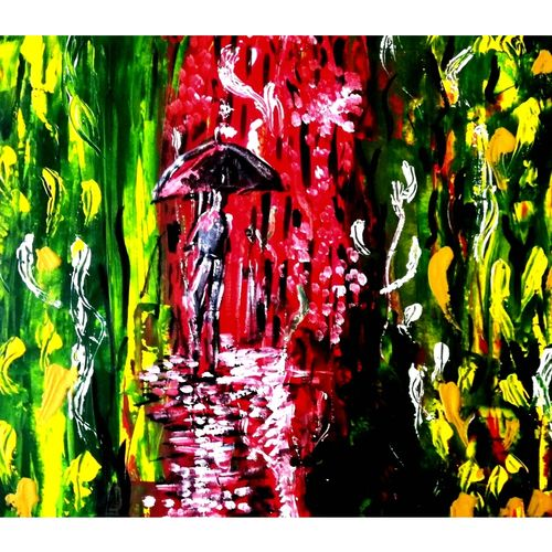 forest road, 16 x 12 inch, shyam sahoo,16x12inch,thick paper,paintings,abstract paintings,acrylic color,GAL01495125594