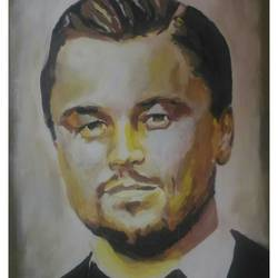 leonardo dicaprio, 22 x 31 inch, rajinder koul,22x31inch,canvas,paintings,modern art paintings,portrait paintings,portraiture,contemporary paintings,realistic paintings,paintings for dining room,paintings for living room,paintings for bedroom,paintings for office,paintings for hotel,acrylic color,GAL01404525597