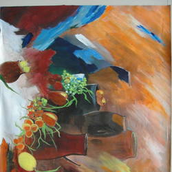 still life, 24 x 18 inch, indhuja raghavan,still life paintings,paintings for dining room,canvas,acrylic color,24x18inch,GAL0110256
