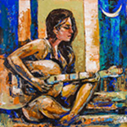 midnight music, 18 x 18 inch, gurdish pannu,18x18inch,canvas,paintings,abstract paintings,figurative paintings,modern art paintings,conceptual paintings,abstract expressionism paintings,realistic paintings,paintings for dining room,paintings for living room,paintings for bedroom,acrylic color,GAL0253725601
