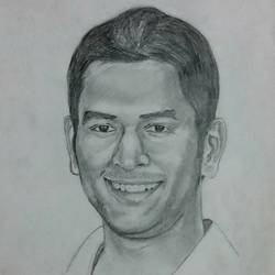 m s dhoni, 10 x 13 inch, surajit  mondal464,10x13inch,cartridge paper,paintings,portrait paintings,paintings for dining room,paintings for living room,paintings for bedroom,paintings for office,paintings for kids room,paintings for hotel,paintings for school,graphite pencil,GAL01429425611