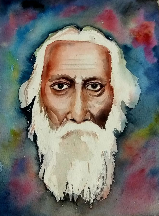 rabindra nath taigore, 11 x 15 inch, surajit  mondal464,11x15inch,handmade paper,paintings,abstract paintings,portrait paintings,paintings for dining room,paintings for living room,paintings for bedroom,paintings for office,paintings for kids room,paintings for hotel,paintings for school,watercolor,GAL01429425612